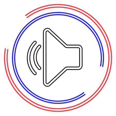 Speaker volume icon - audio voice sound symbol, media music. Thin line pictogram - outline editable stroke