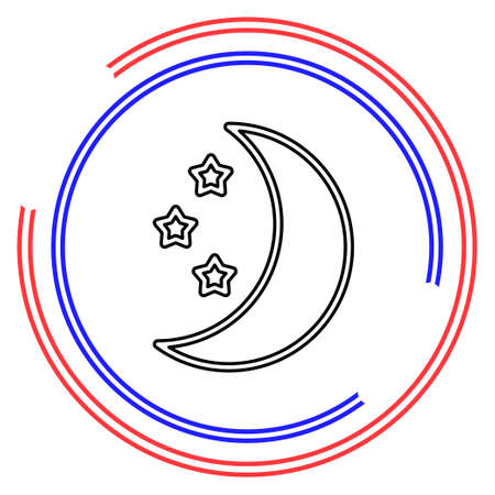Moon star icons set. night sleep isolated. Thin line pictogram - outline editable stroke