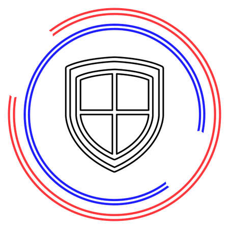 security shield emblem- protection and safety sign, shield icon. Thin line pictogram - outline editable stroke Ilustrace