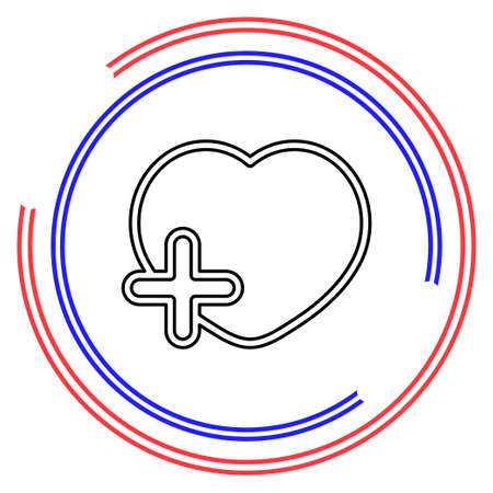Add lover symbol - flat vector icon - add heart. Thin line pictogram - outline editable stroke