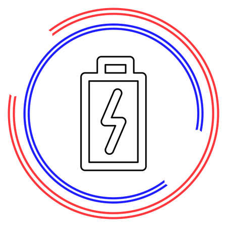Battery charging - power Battery illustration, electricity symbol - energy sign. Thin line pictogram - outline editable stroke