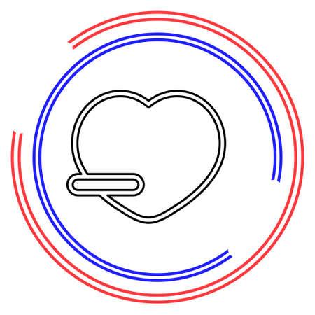 Remove lover symbol - flat vector icon - Remove heart. Thin line pictogram - outline editable stroke Illusztráció