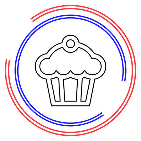 Muffin - cupcake illustration, dessert - delicious sweet, bakery symbol. Thin line pictogram - outline editable stroke