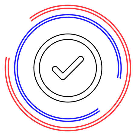 Check mark symbol - yes or ok - approved sign, vote checklist. Thin line pictogram - outline editable stroke Ilustrace