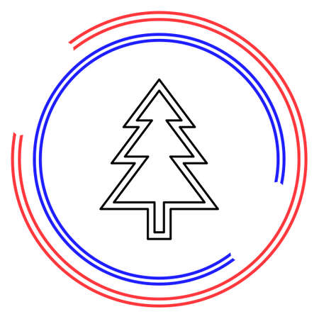 Christmas tree illustration - xmas silhouette symbol, winter holiday element isolated. Thin line pictogram - outline editable stroke
