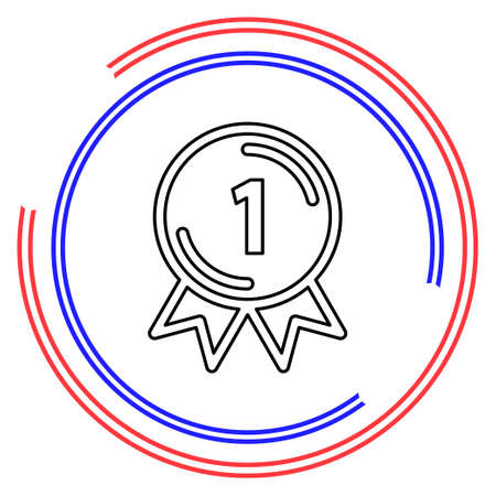 award winner - First place prize, competition badge. Thin line pictogram - outline editable stroke