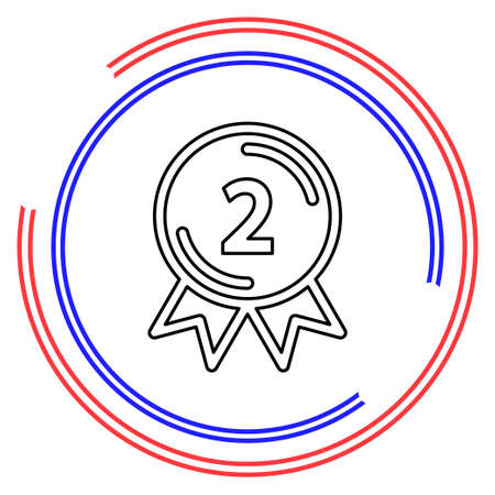 award winner - Second place prize, competition badge. Thin line pictogram - outline editable stroke