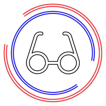 eye glasses isolated, optical fashion glasses - eyeglasses frame illustration. Thin line pictogram - outline editable stroke