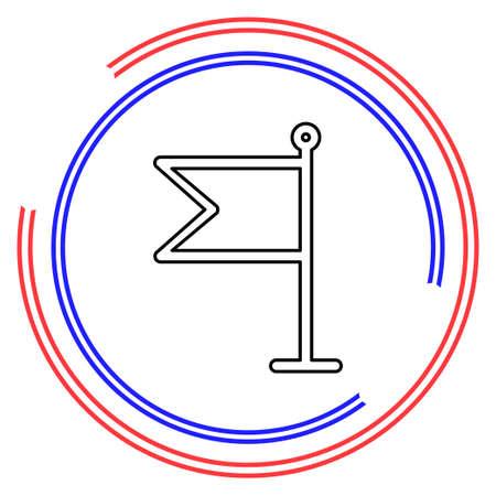 Flag illustration - Flag element isolated, flag symbol. Thin line pictogram - outline editable stroke