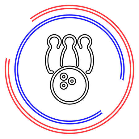 Bowling icon. bowling ball - bowling game, sport icon. Thin line pictogram - outline editable stroke