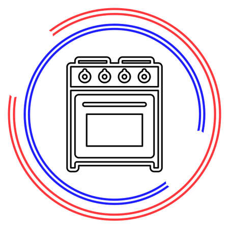 stove oven icon, vector gas stove, kitchen cooking appliance. Thin line pictogram - outline editable stroke