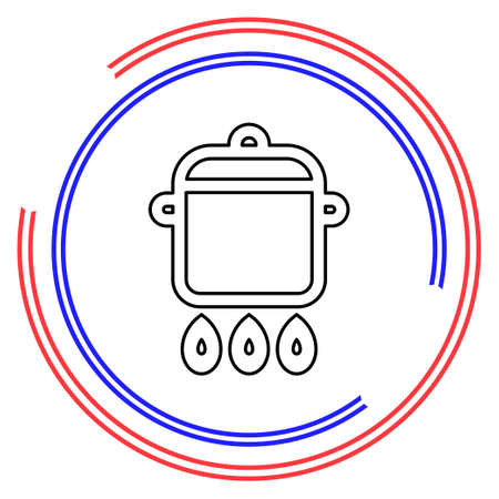 cooking pot icon. Thin line pictogram - outline editable stroke
