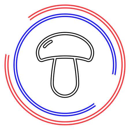 Mushroom icon, vegetable illustration, healthy food. Thin line pictogram - outline editable stroke