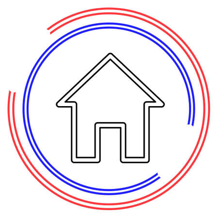 home icon, real estate house, residential symbol. Thin line pictogram - outline editable stroke