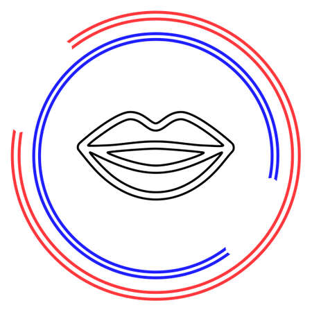 vector lips illustration - kiss icon, red lipstick - love icon. Thin line pictogram - outline editable stroke