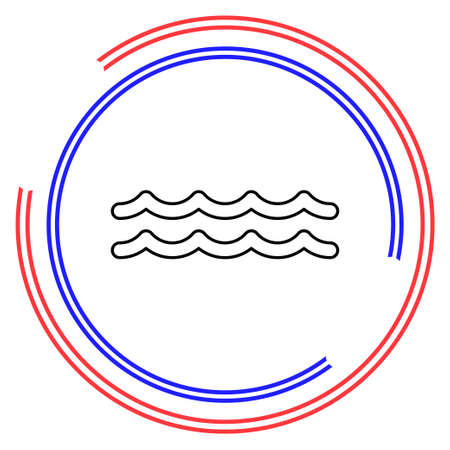 vector Water wave, river Water illustration - nature element, ocean or sea symbol. Thin line pictogram - outline editable stroke