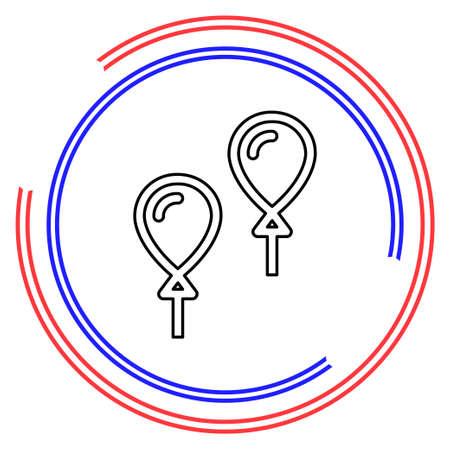 vector balloons illustration - birthday celebration decoration, decoration balloons - party symbol. Thin line pictogram - outline editable stroke