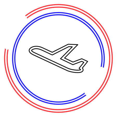 aeroplane icon - vector airplane, travel icon, flight illustration. Thin line pictogram - outline editable stroke
