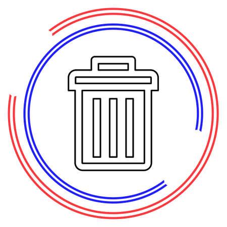 trashcan icon, vector trash bin - basket illustration - garbage basket symbol, recycle bin illustration, trash can sign. Thin line pictogram - outline editable stroke Illusztráció