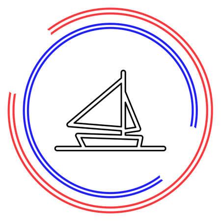 ship icon, cruise ship - vector boat illustration, sea travel symbol. Thin line pictogram - outline editable stroke Illusztráció