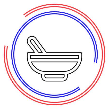 pharmacy medicine - herbal bowl - pharmaceutical symbol. Thin line pictogram - outline editable stroke Illusztráció
