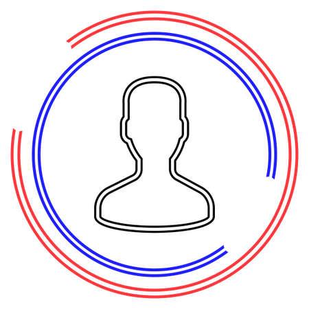 vector user icon, avatar silhouette, social symbol - member sign. Thin line pictogram - outline editable stroke