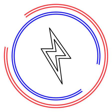 Cloud lightning icon - thunder storm. Thin line pictogram - outline editable stroke