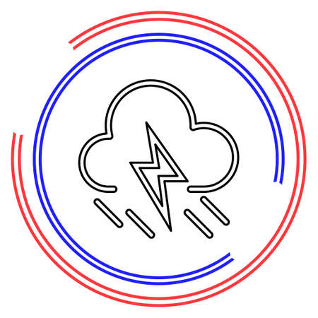 weather storm illustration, sun rain symbol - weather storm icon. Thin line pictogram - outline editable stroke