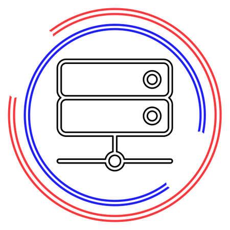 server data racks - computer storage icon. Thin line pictogram - outline editable stroke