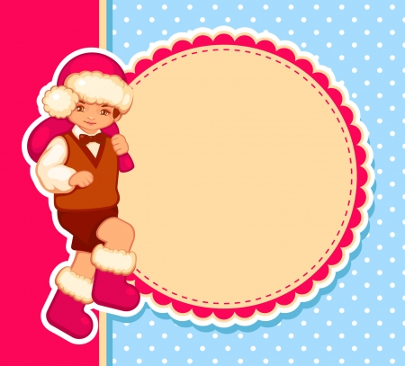 vector card with santa-boy  Vector