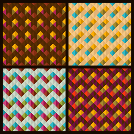 4 vector seamless patterns with rhombuses and zigzags Vector