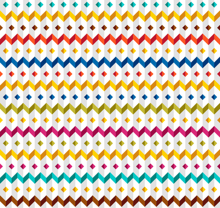 white seamless relief pattern with color zigzags