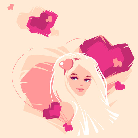 vector illustration of the blonde and hearts Stock Vector - 27458374