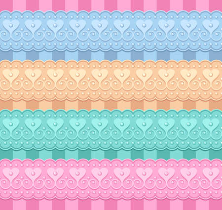 vector set of ribbons with hearts