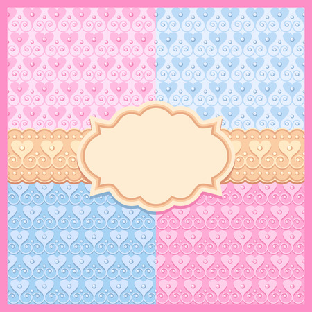 wedding set of pink and blue vector seamless patterns, frame and ribbon Vector