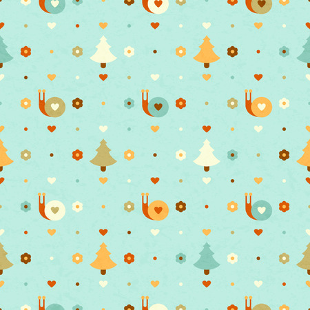 funny seamless pattern with snails and trees