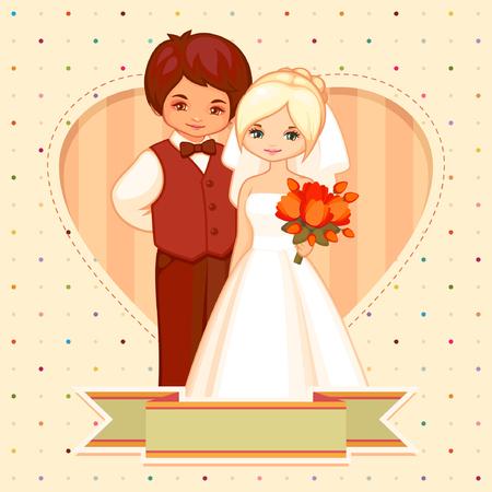 beige stof: cartoon illustratie van de bruidegom en bruid Stock Illustratie