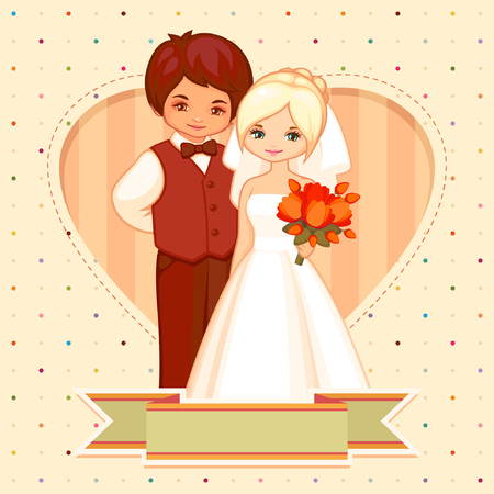 cartoon illustration of the groom and bride Vector
