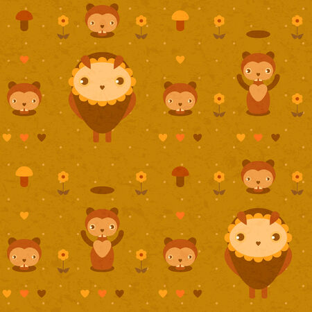 vector seamless funny pattern with gophers and owls Vector