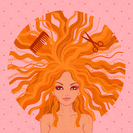 hairdressing salon: vector illustration of young beautiful girl. Hairdressing salon Illustration