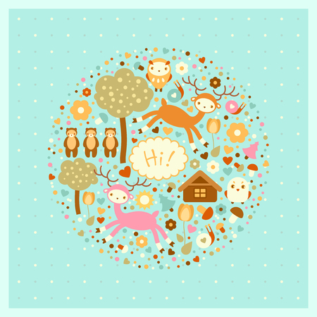 vector funny card with deer, bears, trees and birds Vector