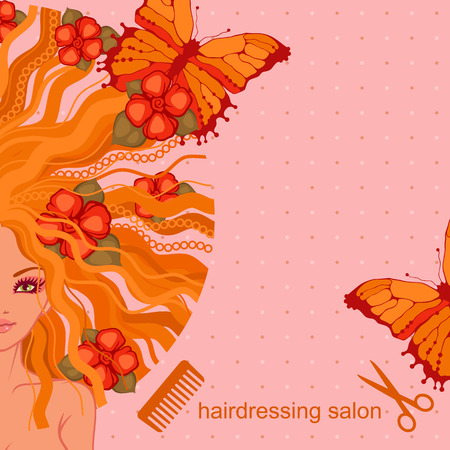 hairdress: vector illustration of the girl with flowers and butterflies