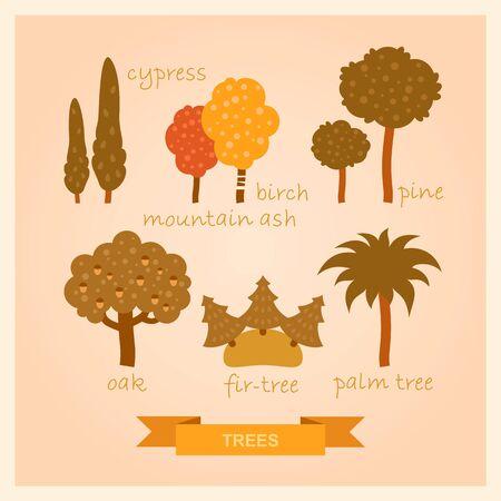set of illustrations of trees 矢量图像