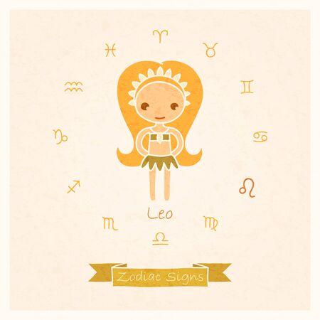 leon de dibujos animados: ilustración vectorial de signo zodiacal Leo con la textura de papel