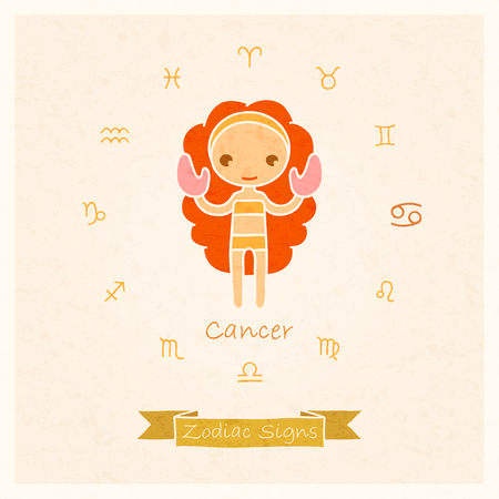 cancer zodiac: vector illustration of Cancer zodiac sign with texture of paper