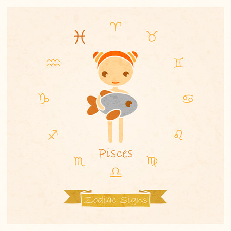 destiny: vector illustration of Pisces zodiac sign with texture of paper