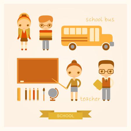 conjunto de ilustraciones de vectores de dibujos animados de la escuela con la gente Ilustración de vector
