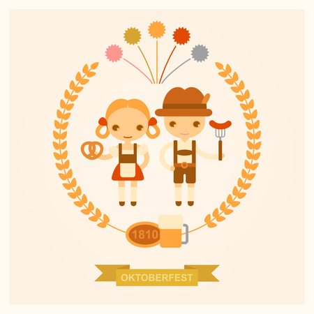 vector cartoon illustration of people on celebrations of Oktoberfest Illustration