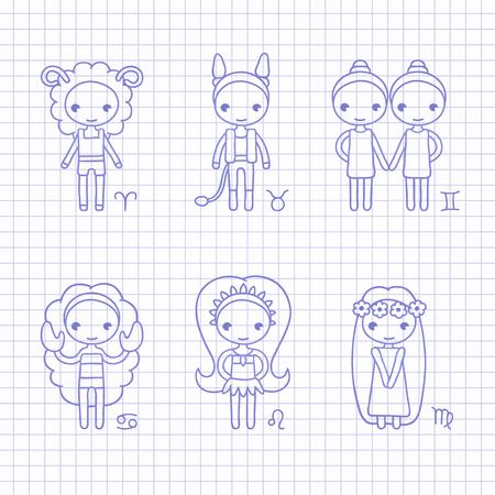 leon de dibujos animados: vector azul dibujo a mano signos del zodiaco Aries, Tauro, Géminis, Cáncer, Leo, Virgo