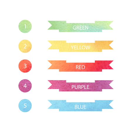 numbering: set of green, yellow, red, purple, blue ribbons and circles with watercolor texture